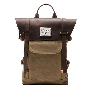 The Top Side Leather Backpack in Tan by The Normal Brand