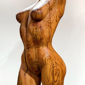 """Wood Nymph Sculpture - """"Dryad 1"""" - Hand Carved Oak - 14"""" X 34"""""""