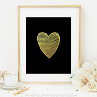 HEART Faux Gold Foil Art Print - Black & Gold - Home Office Decor - Imitation Gold Leaf - Crosshatched Heart - Anniversary Wedding Gift Idea