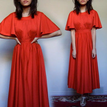 Vintage 1970s Red Dress Drape 70s Gown Tea Length Long Circle Skirt - Small S