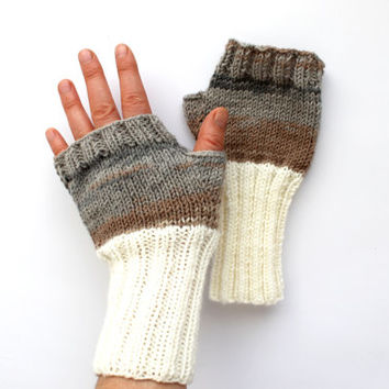 Autumn Trend / Hand Knit Fingerless Gloves / Medium size fits most. / Cream . Brown / Winter Fashion/ Arm Warmes