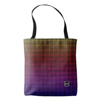 Monogram Rainbow Weave Black Tote Bag