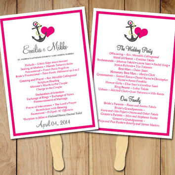 "Beach Wedding Fan Program Template - Nautical Ceremony Program - ""Anchor Love"" Hot Pink Gray - Tropical Wedding Program Favor"