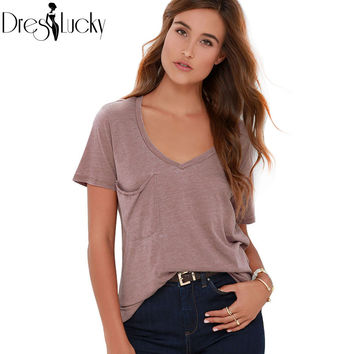 2016 summer tops solid t shirt casual short sleeve t-shirts for women loose white fashion female t-shirt pockets tee shirt femme