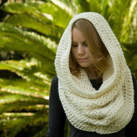Hooded Cowl, Cream Scarf, Crochet cowl, Off-white infinity scarf