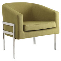 Accent Seating Contemporary Accent Chair in Green Linen-Like Fabric with Exposed Metal Frame