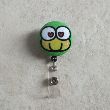 ID Badge Holder Retractable in Love Frog, Frogger, Teacher Badge Reel, Badge Reel, Nurse ID Badge Reel, Art Badge Holder, Ready to Ship