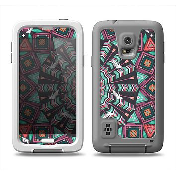 The Mirrored Coral and Colored Vector Aztec Pattern Samsung Galaxy S5 LifeProof Fre Case Skin Set