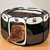 72*72*45cm Portable Folding Pet Tent Playpen Dog Fence Puppy Kennel Easy Operation Folding Exercise Play In House Or Outdoor