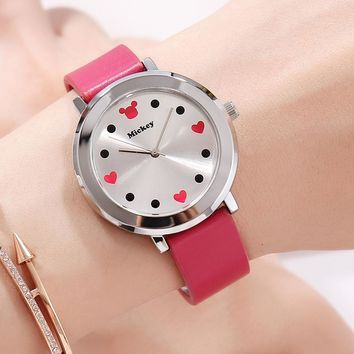 woman clocks fashion Disney brand ladies wristwatches Mickey mouse genuine leather womens watches red black white waterproof