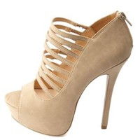 Super Strappy Peep Toe Platform Pumps by Charlotte Russe - Natural