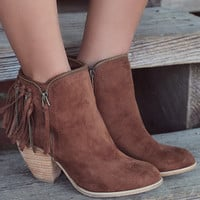 Flippin' Fringe Tan Stacked Ankle Boot With Chain & Suede Fringe Tassels