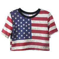 "ROMWE | ""American Flag"" Midriff T-shirt, The Latest Street Fashion"