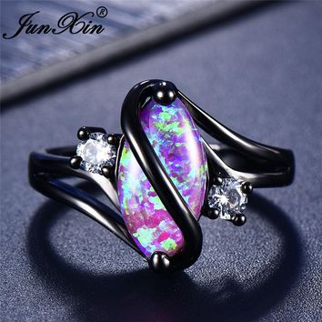 JUNXIN 90 OFF! Rainbow Fire Opal Rings For Women Black Gold Filled S Wave Ring Marquise Horse Eye Stone Birthstone Wedding Ring