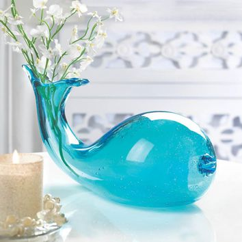 Coastal Living-Hand-Blown Blue Art Glass Whale Vase