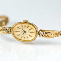 Filigree bracelet wristwatch Ray, woman's wristwatch, gold plated watch her, oval watch for lady, unique woman watch, beige face watch