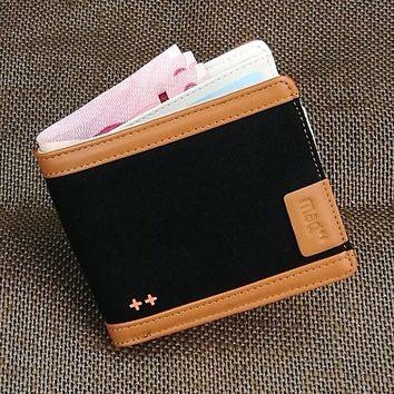 Men Wallet Money Purse Boy Bifold Canvas Young Girl New Arrival Design Hot Sale Unique Student Teens Hipster Trendy Coin Pocket