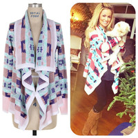 SALE The Bonfire Cardigan in Lavender Cozy Aztec Knit Cardigan Warm Oversized Look Made Famous by Emily Maynard Gifts For Her Gifts Under 60