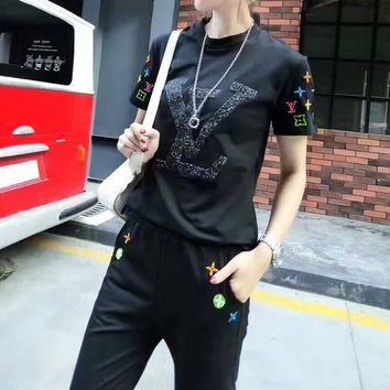 """""""Louis Vuitton"""" Women Casual Multicolor Embroidery Sequin Letter Short Sleeve Trousers Set Two-Piece Sportswear"""