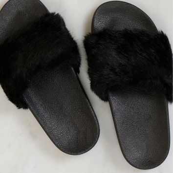 Faux Fur Slides Black