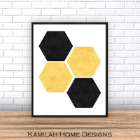 Hexagon Print, Geometric Wall Art Home Decor, Minimalist Print, Hexagon Wall Art, Yellow Black, White, Geometric Print