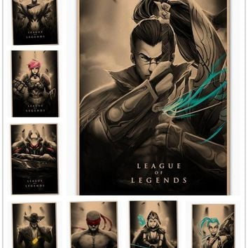Creative Vintage League of Legends LOL Heroes Poster Retro Kraft Paper Bar Cafe Home Decor Painting Wall Sticker 45x30cm