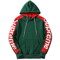 Supreme Tide brand arm printed letter loose hooded pullover sweater Green