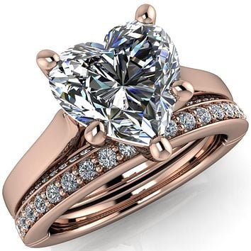 Colette Heart Moissanite 5 Prong Half Eternity Cathedral Ring