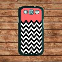 Samsung Galaxy S3 case---Cute Coral And Chevron,in plastic hard case,black or white or clear color