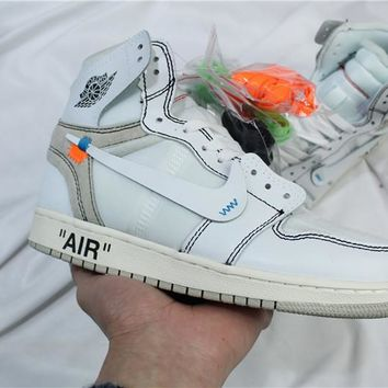 OFF-WHITE x Air Jordan 1 Retro AJ1 White Sneaker Shoe 36-47