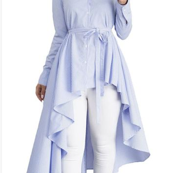 Light Blue-White Striped Single Breasted Sashes High-Low Flannel Maxi Dress