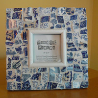 Blue Broken China  Mosaic Photo Frame Picture Frame Blue Willow