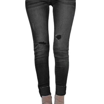Black Ripped Skinny Stretch Jeans