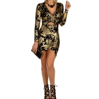 Sale-black X Front Brocade Bodycon Dress