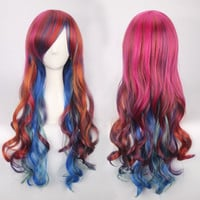 Colorful Long Side Bang Wavy Cosplay Lolita Synthetic Wig