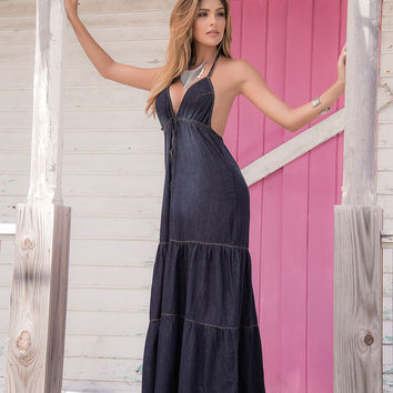 Summer Blue Chambray Maxi Dress-Beach Wear
