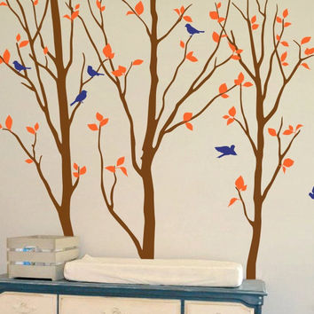 Nursery Birch Tree Wall Decals Large Tree With Birds Special Creative Wall Sticker For Baby Kids Playroom Cute Decor Mural T-20