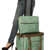 """WESTERN PRIDE"" Bronze & Blue Rolling Laptop Carryall Bag"