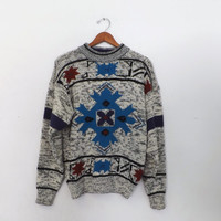 Vintage 80s Men's Women's McGregor Geometric Ski Sweater Punk Boho Hipster Medium Large Southwestern Aztec Gray Purple Hip Hop Grunge