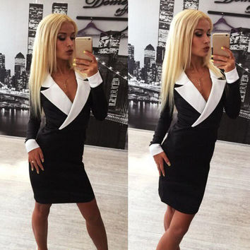 Autumn Slim Blazer Black Sexy Straight Hair One Piece Dress [6048562817]