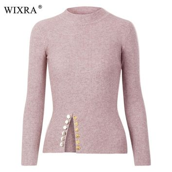 Wixra 2018 Winter New Sweaters For Woman Long Sleeve Gold Buttons Elegant Pullover Knitted Top Warm Knit Jumper Casual Sweater