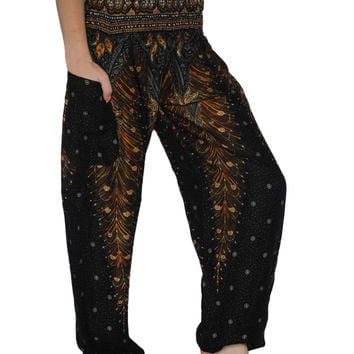 Black Peacock Harem Pants