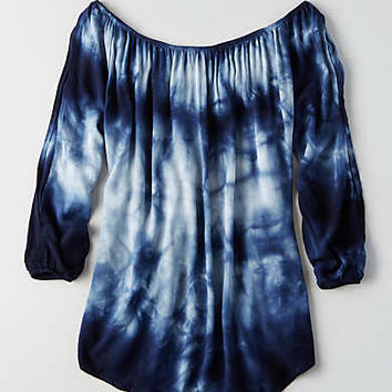 Don't Ask Why Off-The-Shoulder Shirt, Blue