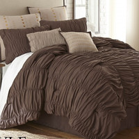 8 Piece Brown Microfiber Comforter Set
