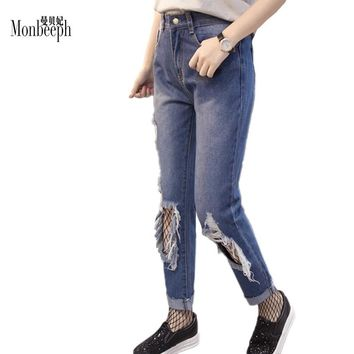 brand Plus Size S-5XL Women Apparel Destroyed Hole Ripped Jeans Cool Denim Pants Female Jeans Straight Trousers with Net Socks