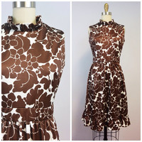 Vintage 60s 70s Brown Floral Dress by Emilio Borghese Roma
