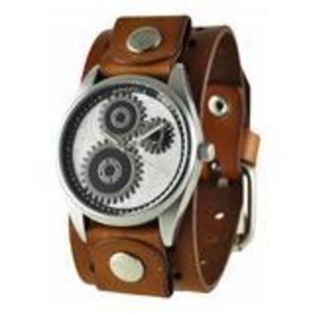 Silver Geared Watch with Basic Brown Leather Cuff Band