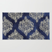 Cream Floral Moroccan Pattern on Deep Indigo Ink Rug by Micklyn