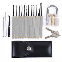 DANIU Transparent Practice Padlocks with 12pcs Unlocking Lock Pick Set Key Extractor Tool Lock Pick Tools