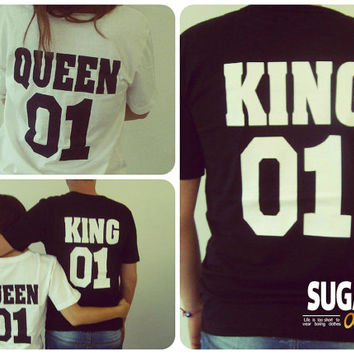 Queen 01 King 01 shirts, couple shirt, king queen shirt, queen king tshirts, king and queen tees, couple tees, Unisex style tees